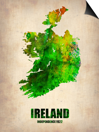 Ireland Watercolor Map Posters by  NaxArt