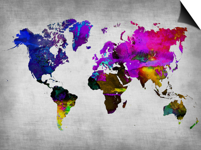 World Watercolor Map 13 Print by  NaxArt