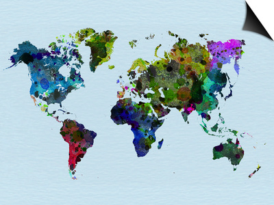 World Watercolor Map 3 Posters by  NaxArt