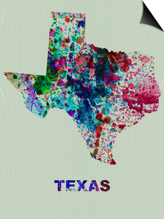 Texas Color Splatter Map Poster by  NaxArt