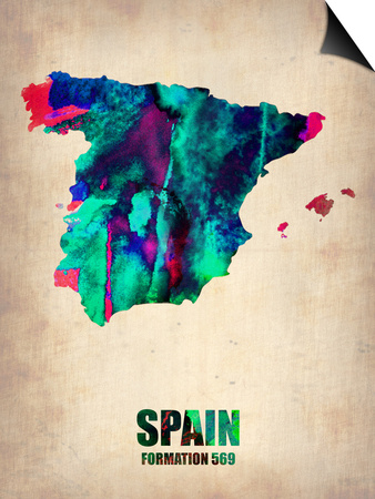 Spain Watercolor Map Posters by  NaxArt