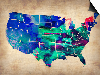 Usa Watercolor Map 3 Posters by  NaxArt