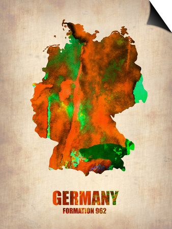 Germany Watercolor Map Prints by  NaxArt