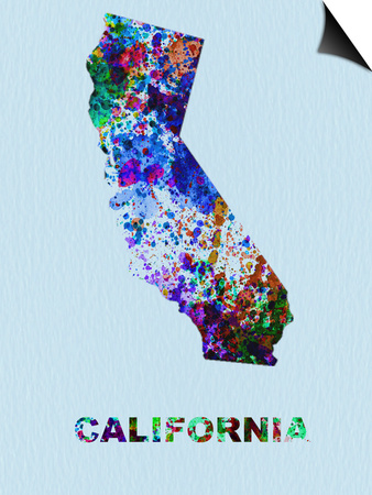 California Color Splatter Map Prints by  NaxArt