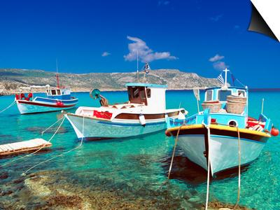 Fishing Boats at Anopi Beach, Karpathos, Dodecanese, Greek Islands, Greece, Europe Prints by Sakis Papadopoulos