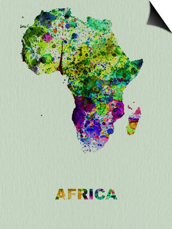 Africa Color Splatter Map Prints by  NaxArt!