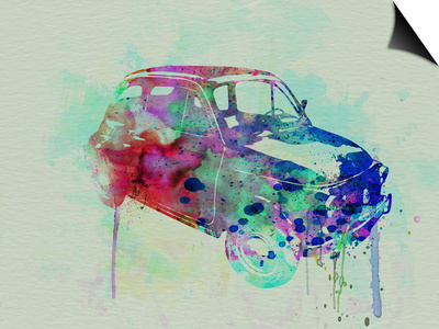 Fiat 500 Watercolor Art by  NaxArt