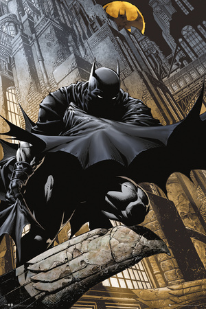 Batman stalking Gotham City comic book poster artwork