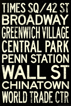 New York City Subway Style Vintage RetroMetro Travel Plastic Sign Plastic Sign