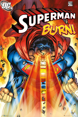 Superman issue 218 cover art, laser beam at Blackrock, comic book poster artwork