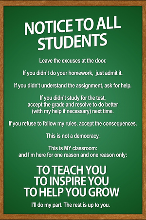 Notice to all Students Classroom Rules Plastic Sign Plastic Sign