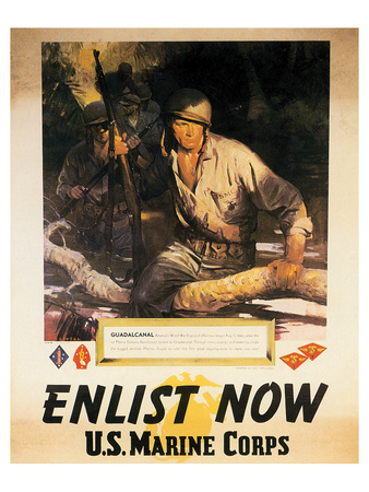 Enlist Now - U.S. Marine Corps Poster by Sgt. Tom Lovell