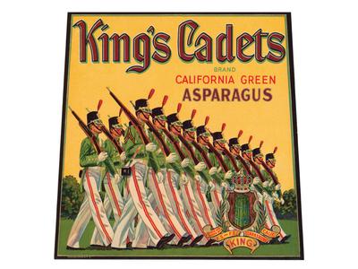 King's Cadets Brand California Green Asparagus Art