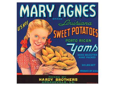 Mary Agnes Brand Louisiana Sweet Potatoes, Porto Rican Yams Art