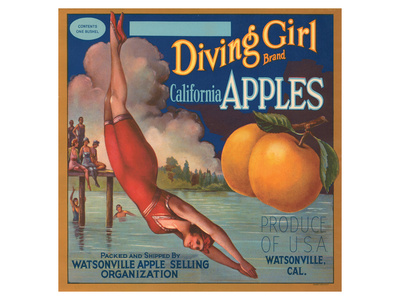 Diving Girl Brand California Apples Prints