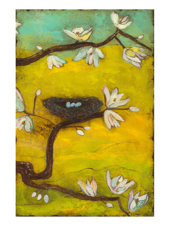 Magnolia Blossoms with Nest II Print by Anne Hempel