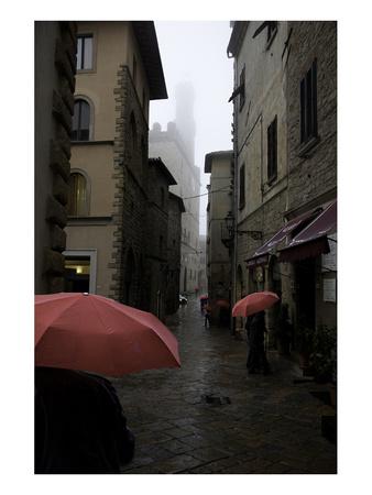 Volterra, Red Umbrellas Posters by Richard Desmarais