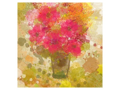 Abstract Colorful Flowers in Vase Prints by Irena Orlov