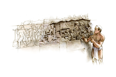 The Carving Process of Bas-Relief Murals in the Bayon Temple Giclee Print by Bruce Morser