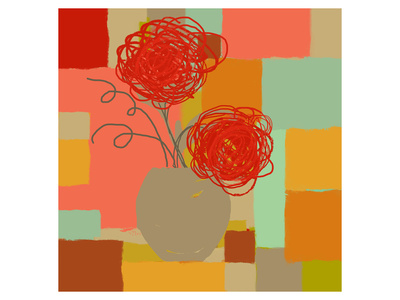Vase of Red Flowers I Prints by  Yashna