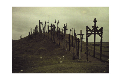 A View of a Walkway Lined with Crucifixes Photographic Print by Gustav Heurlin