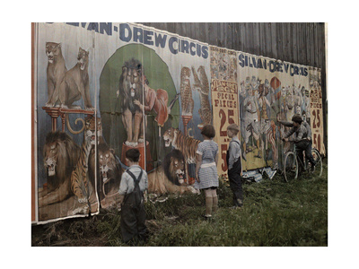 Children Read a Sylvan Drew Circus Billboard Photographic Print by Jacob J. Gayer