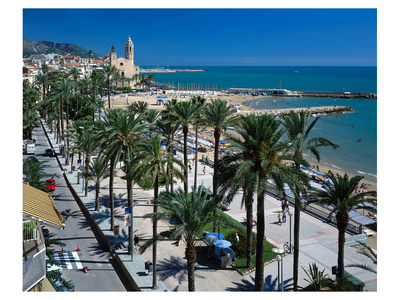 Seaside Promenade Sitges Spain Affischer