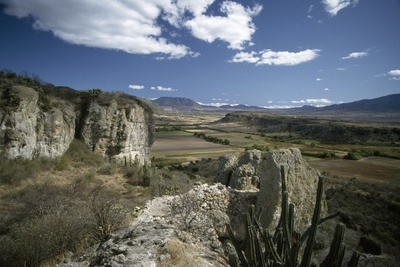 A View from the Great Fortress at Yagul, Overlooking Oaxaca Valley Photographic Print by Macduff Everton