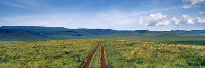 A Dirt Track Dissecting a Vast Short Grass Savannah Plain Surrounded by a Volcano Caldera Wall Photographic Print by Jason Edwards
