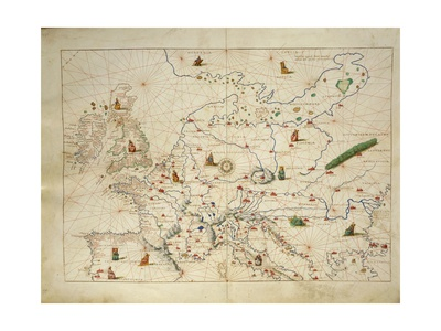 Europe, from Atlas of the World in Thirty-Three Maps, 1553 Giclee Print by Benedetto Antelami
