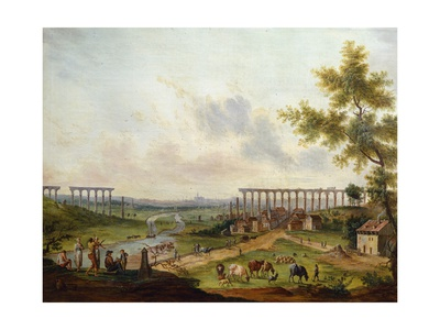 France, Metz, View of Jouy Aux Arches at Beginning of 19th Century Giclee Print by Jean-Baptiste Lallemand