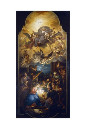 Adoration of the Shepherds with the Father God in a Glory of Angels Giclee Print by Anton Raphael Mengs