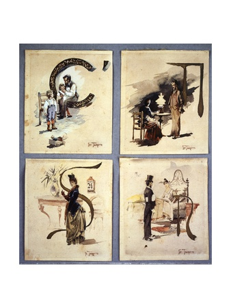 Four Paintings Giclee Print by Giacomo Favretto