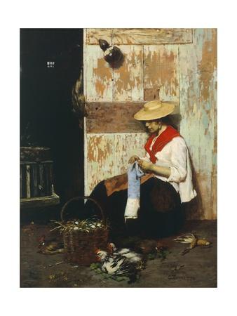 The Chicken Seller Giclee Print by Giacomo Favretto
