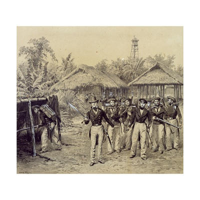 A French Navy Unit During a Raid on an Algerian Village Giclee Print by Jean Baptiste Martin