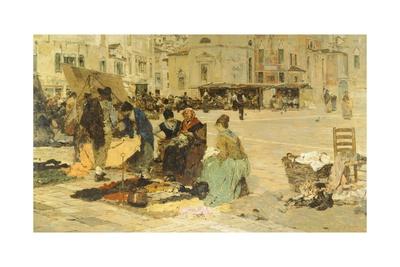 The Saturday Market in Campo San Paolo, Venice, 1882-1883 Giclee Print by Giacomo Favretto