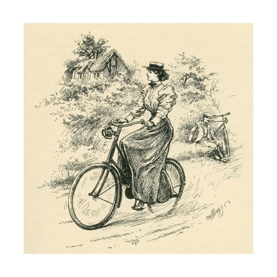 A 19th Century Female Cyclist, from the Strand Magazine Published 1897 Giclee Print