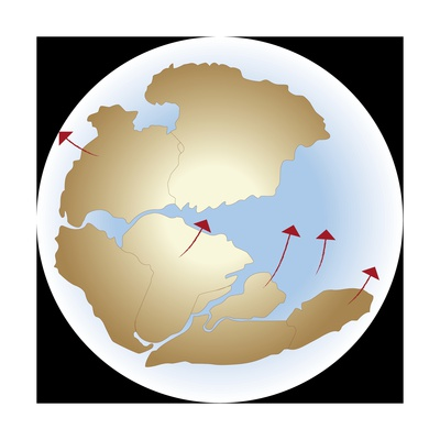 Diagram Showing Earths Continental Drift with Fragmented Pangea Giclee Print