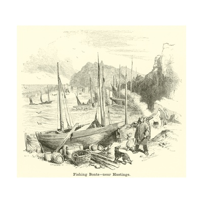 Fishing Boats, Near Hastings Giclee Print