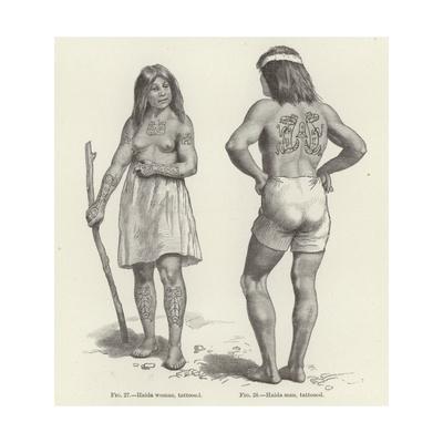 Tattooed Haida Woman and Man Giclee Print