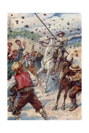 They Pelted Don Quixote with a Shower of Stones Giclee Print by Paul Hardy
