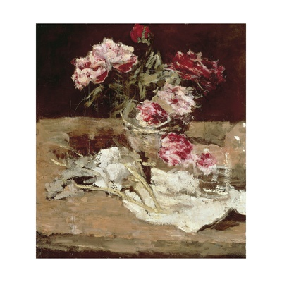 Still Life with Peonies Giclee Print by Carl Schuch