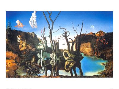Reflections of Elephants Print by Salvador Dalí
