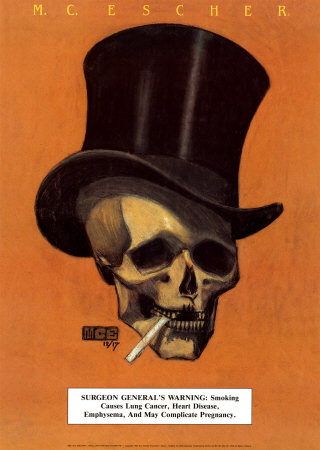 Skull with Cigarette Kunstdruk