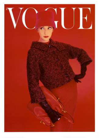 Titelblatt der Vogue, Rote Rose, August 1956 Kunstdruck