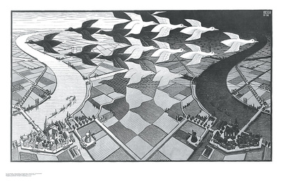 Tag und Nacht Poster von M. C. Escher