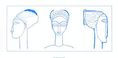 Heads in Blue Serigrafia di Amedeo Modigliani