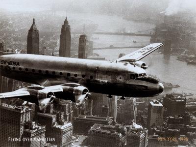 New York, New York, Flying Over Manhattan, 1946 Poster