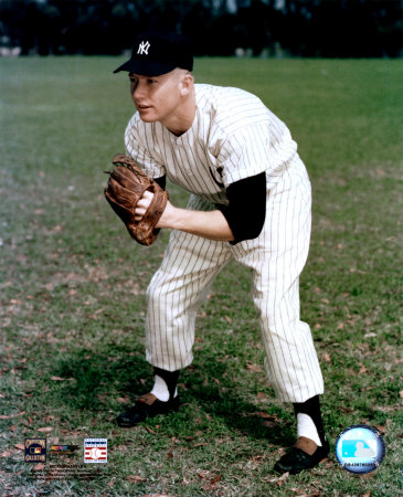 Mickey Mantle - 2 Posed Fielding Photo