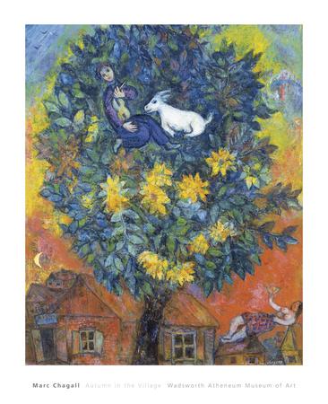 Autumn in the Village Affischer av Marc Chagall